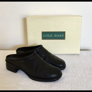 Cole Haan Memory Flex Dylan Black Leather Clogs